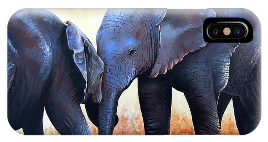 Elephants IPhone Case featuring the painting Two Little Elephants by Paul Dene Marlor