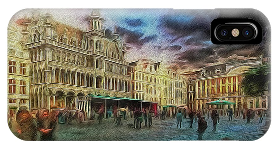 Painterly IPhone X Case featuring the digital art Two Nights In Brussels #21 Season's End by Leigh Kemp