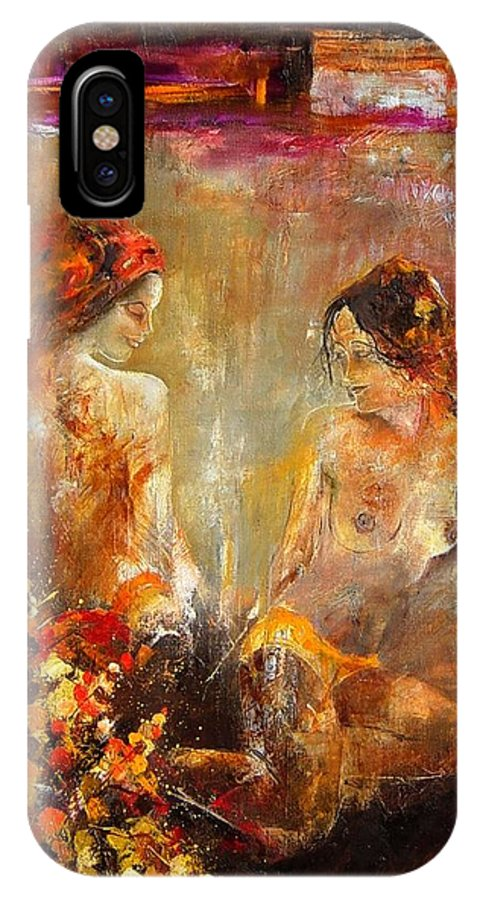 Girl Nude IPhone X Case featuring the painting Two nudes by Pol Ledent