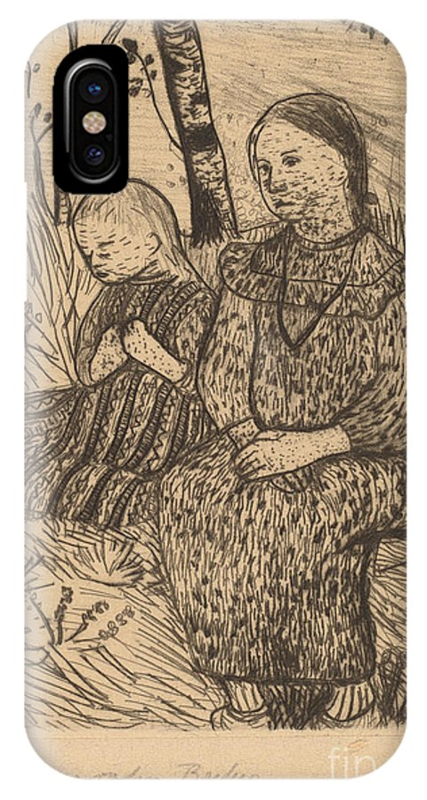 IPhone X Case featuring the drawing Two Peasant Girls by Paula Modersohn-becker