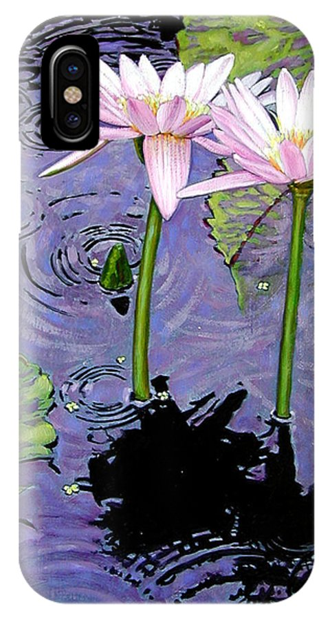 Pink Water Lilies IPhone X Case featuring the painting Two Pink Lilies In The Rain by John Lautermilch
