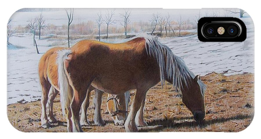 Horses IPhone X Case featuring the mixed media Two Ponies In The Snow by Constance Drescher