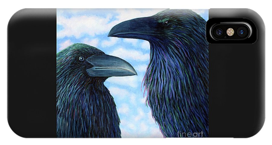 Raven IPhone X Case featuring the painting Two Ravens by Brian Commerford