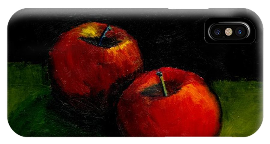 Red IPhone X Case featuring the painting Two Red Apples Still Life by Michelle Calkins