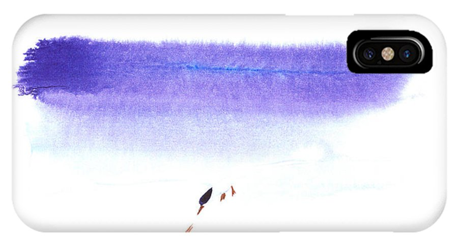 A Pair Of Seabirds By The Sea.  This Is A Watercolor Painting With Simple Zen Style Brush Strokes.  IPhone Case featuring the painting Two Seabirds by Mui-Joo Wee