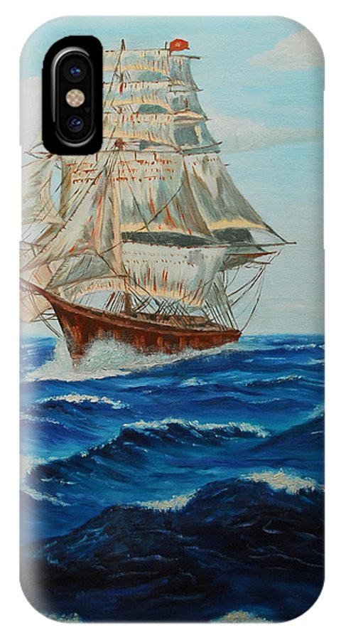 Ship IPhone Case featuring the painting Two Ships Sailing by Quwatha Valentine