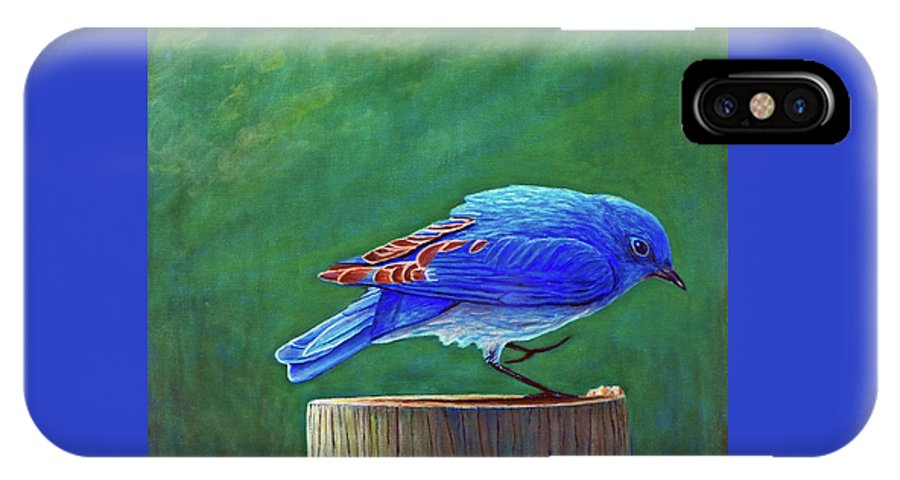 Bluebird IPhone X / XS Case featuring the painting Two Step by Brian Commerford
