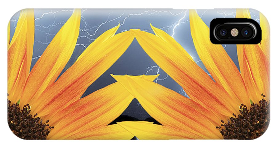 Sunflowers IPhone X Case featuring the photograph Two Sunflower Lightning Storm by James BO Insogna
