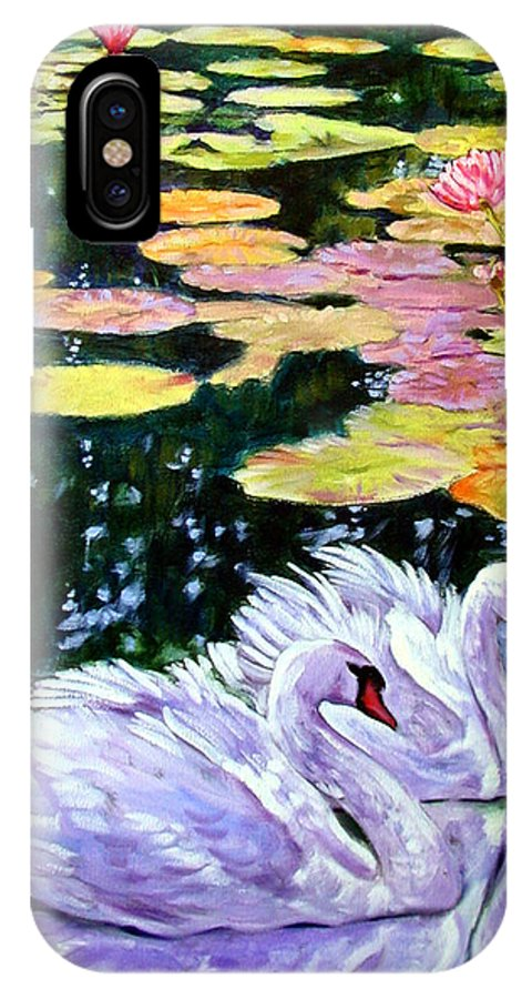 Swans IPhone X Case featuring the painting Two Swans In The Lilies by John Lautermilch
