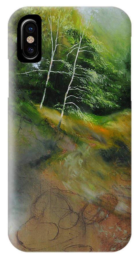 Landscape IPhone X Case featuring the painting Two Trees In Light by Harry Robertson