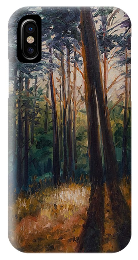 Trees IPhone X Case featuring the painting Two Trees by Rick Nederlof