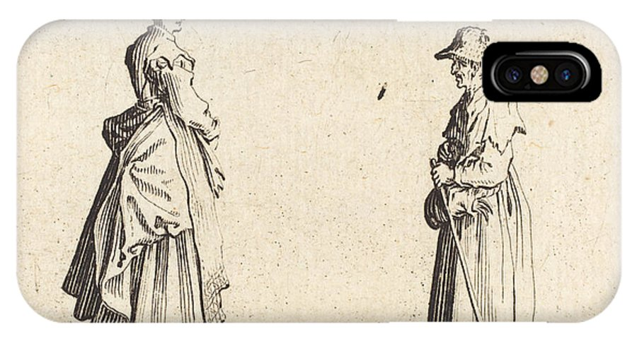 IPhone X Case featuring the drawing Two Women In Profile by Jacques Callot
