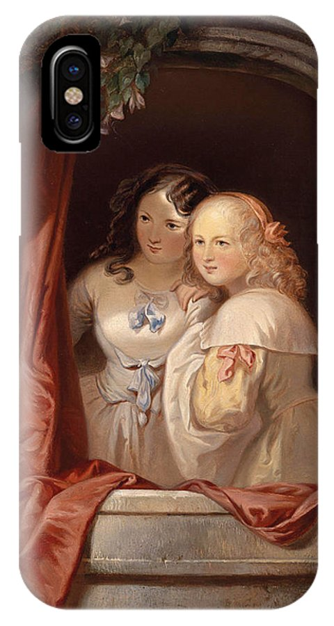 Elisabeth Modell IPhone X Case featuring the painting Two Young Ladies At The Window by Elisabeth Modell