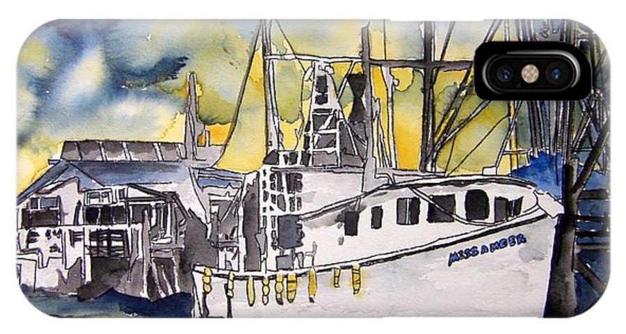Georgia IPhone X Case featuring the painting Tybee Island Georgia Boat by Derek Mccrea