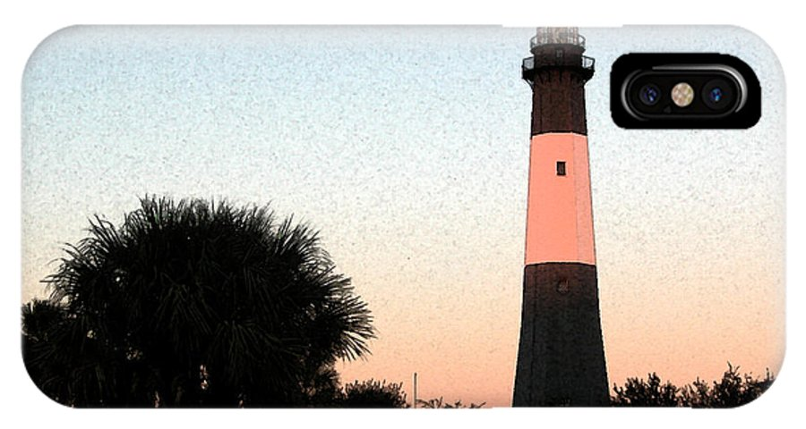 Tybee IPhone X Case featuring the digital art Tybee Light Sunset by Rhodes Rumsey
