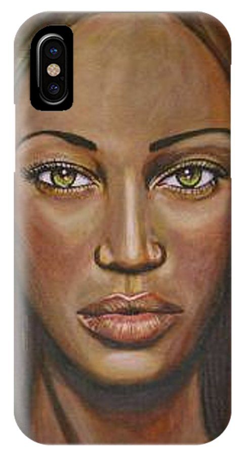 Woman IPhone X Case featuring the painting Tyra by Sarah-Lynn Brown