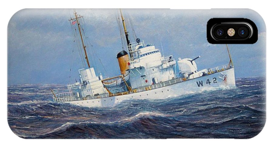Marine Art IPhone X / XS Case featuring the painting U. S. Coast Guard Cutter Sebago Takes A Roll by William H RaVell III