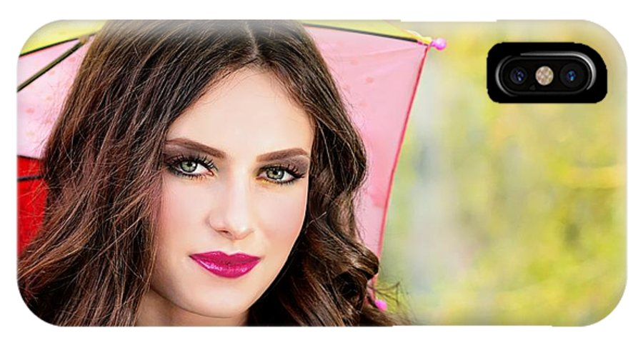 Umbrella IPhone X Case featuring the photograph Umbrella Lady by Dawn Van Doorn