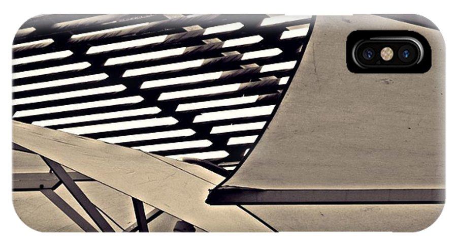 Umbrella IPhone X Case featuring the photograph Umbrellas Sepia by Sarah Loft