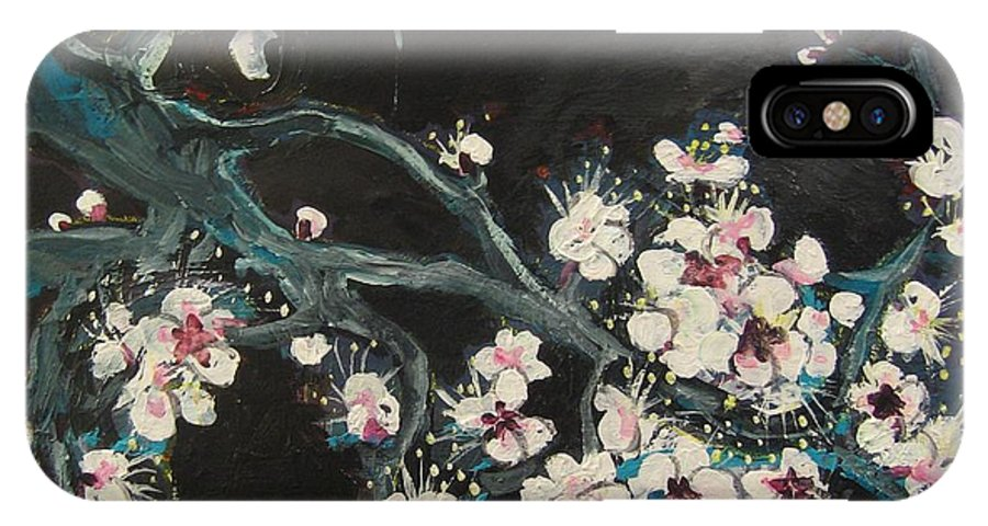 Ume Blossoms Paintings IPhone X Case featuring the painting Ume Blossoms2 by Seon-Jeong Kim
