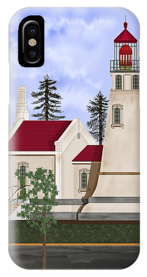Umpqua Lighthouse IPhone X Case featuring the painting Umpqua River Lighthouse July 2010 by Anne Norskog