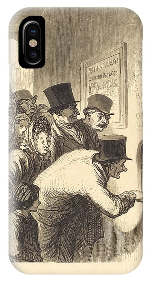 IPhone X Case featuring the drawing Un Guichet De Th??tre by Charles Maurand After Honor? Daumier