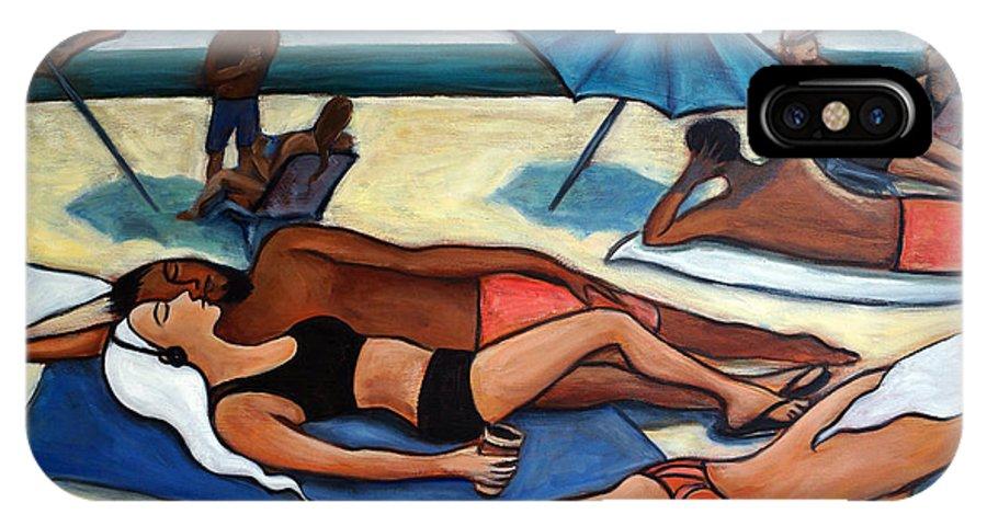 Beach Scene IPhone Case featuring the painting Un Journee A La Plage by Valerie Vescovi