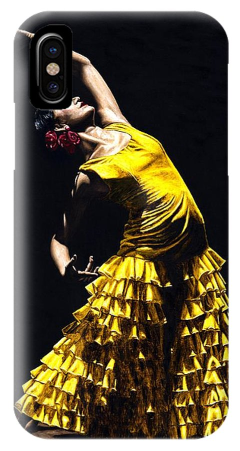 Flamenco IPhone X Case featuring the painting Un Momento Intenso Del Flamenco by Richard Young
