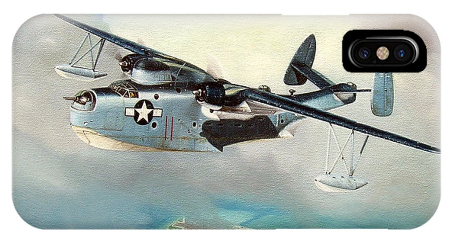 Military IPhone X Case featuring the painting Uncle Bubba's Flying Boat by Marc Stewart