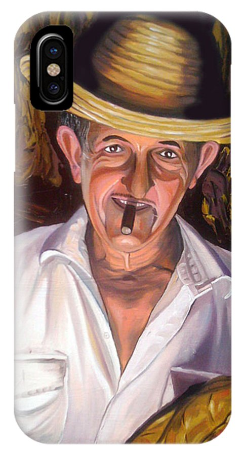 Cuban Art IPhone X Case featuring the painting Uncle Frank by Jose Manuel Abraham