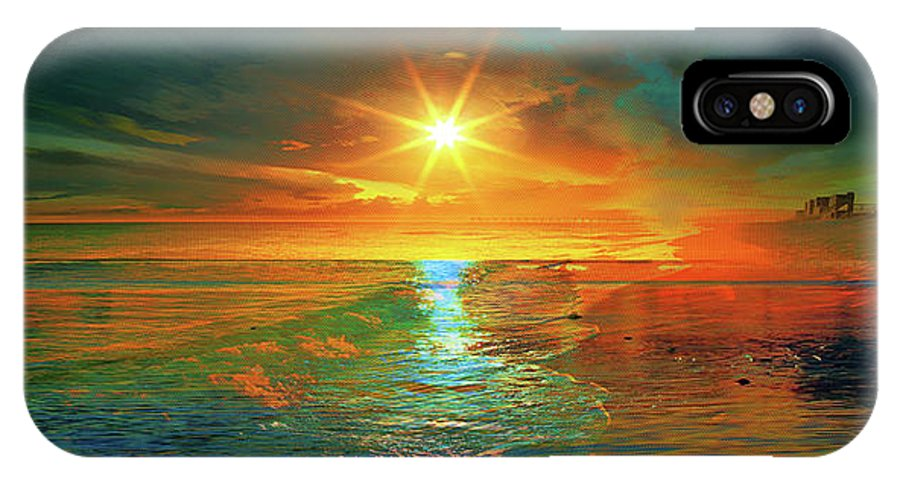 Sunset IPhone X Case featuring the digital art Uncut by Ryan Upton