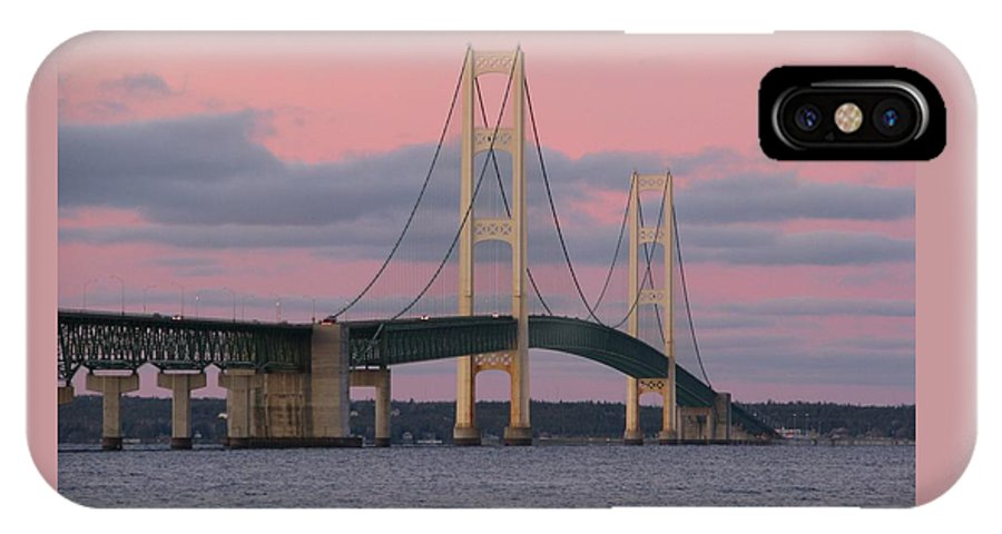 Mackinac Bridge IPhone X Case featuring the photograph Under A Rose Colored Sky by Keith Stokes