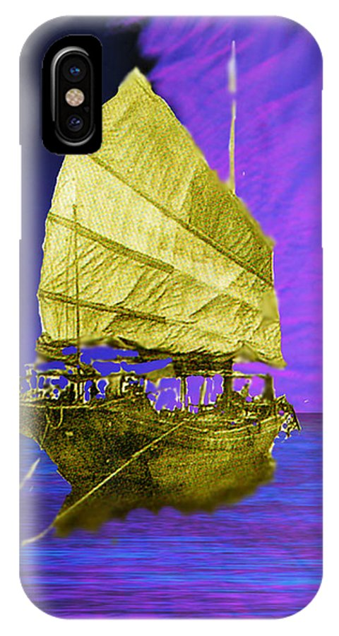 Nautical IPhone X Case featuring the digital art Under Golden Sails by Seth Weaver