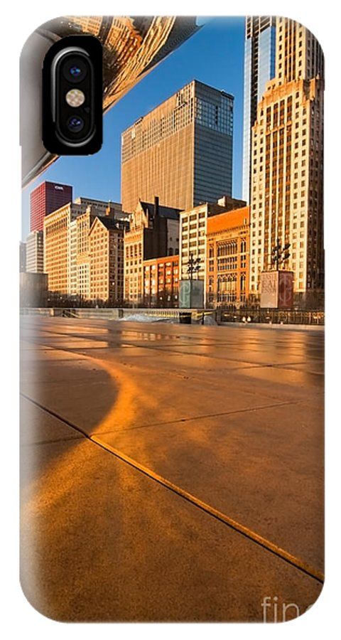 Chicago IPhone X Case featuring the photograph Under The Bean And Chicago Skyline At Sunrise by Sven Brogren