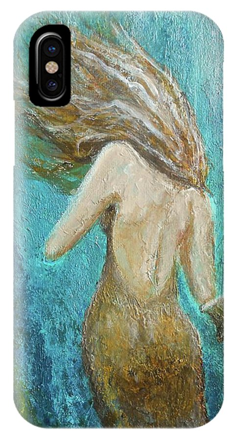 Mermaid IPhone X Case featuring the painting Under The Sea by Nancy Quiaoit