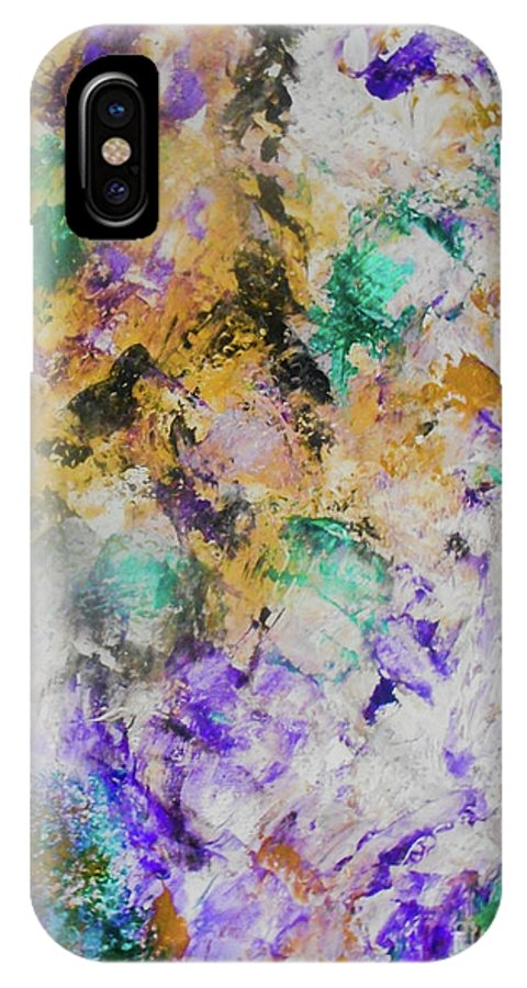 Abstract IPhone X Case featuring the painting Underground by Elle Justine