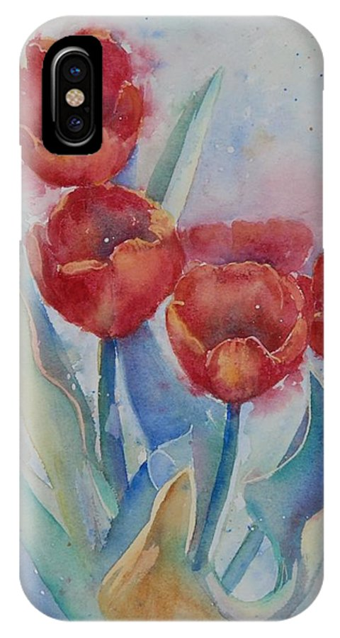 Flowers IPhone X Case featuring the painting Undersea Tulips by Ruth Kamenev