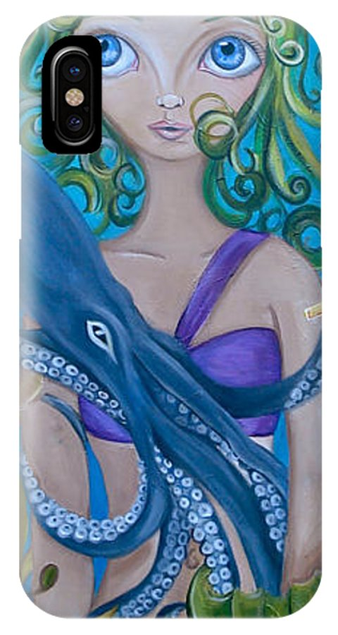 Underwater IPhone X Case featuring the painting Underwater Mermaid by Jaz Higgins