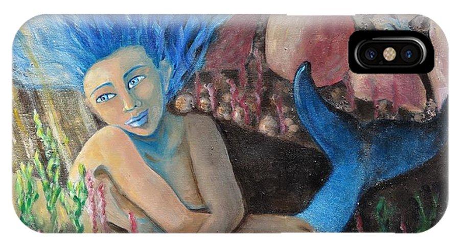 Mermaid IPhone X Case featuring the painting Underwater Wondering by Laurie Morgan