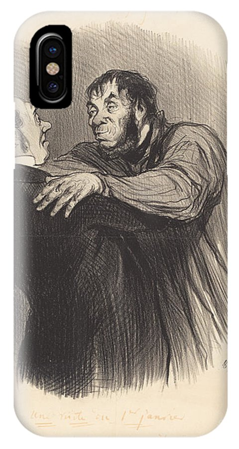 IPhone X Case featuring the drawing Une Visite Du 1er Janvier by Honor? Daumier