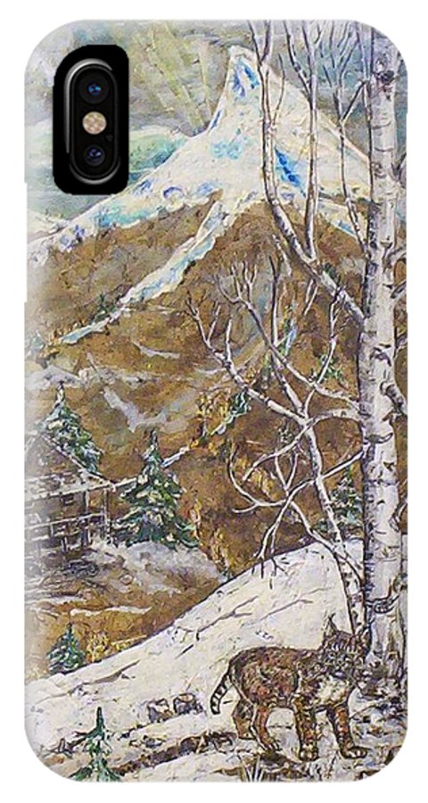 Snow Scene IPhone X / XS Case featuring the painting Unexpected Guest I by Phyllis Mae Richardson Fisher