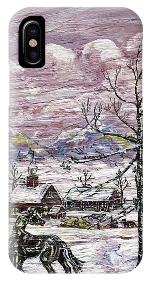 Snow Scene IPhone Case featuring the painting Unexpected Guest II by Phyllis Mae Richardson Fisher