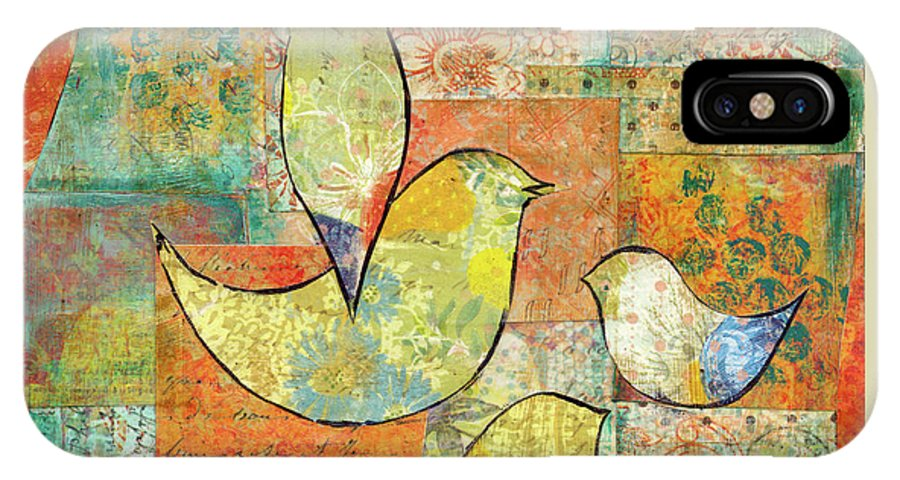 Birds IPhone X Case featuring the mixed media Unfinished Bird by Krista Brock