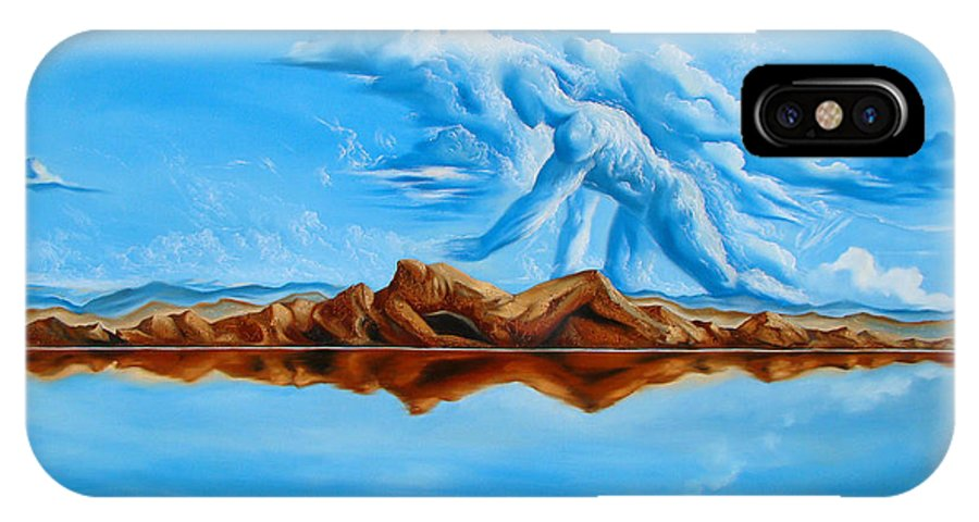 Surrealism IPhone X Case featuring the painting Unfinished Business by Darwin Leon