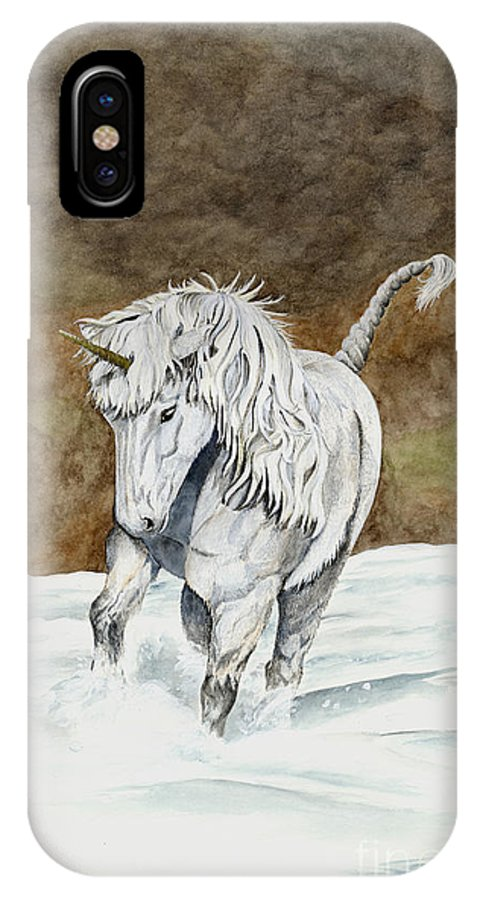 Unicorn IPhone X Case featuring the painting Unicorn Icelandic by Shari Nees