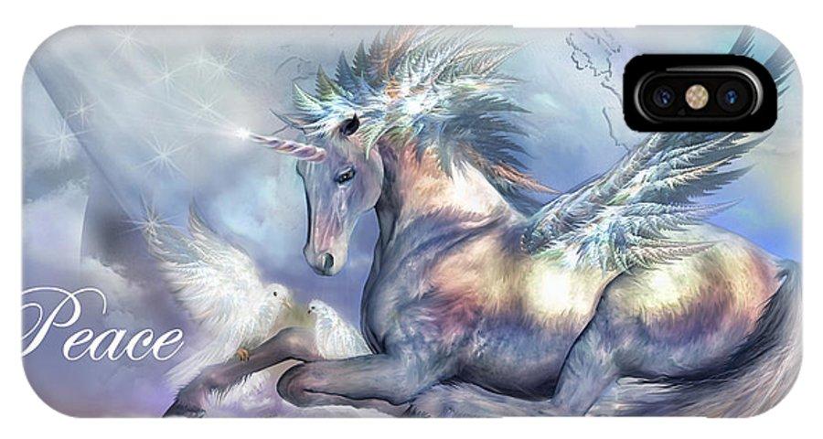 Unicorn IPhone X Case featuring the mixed media Unicorn Of Peace Card by Carol Cavalaris