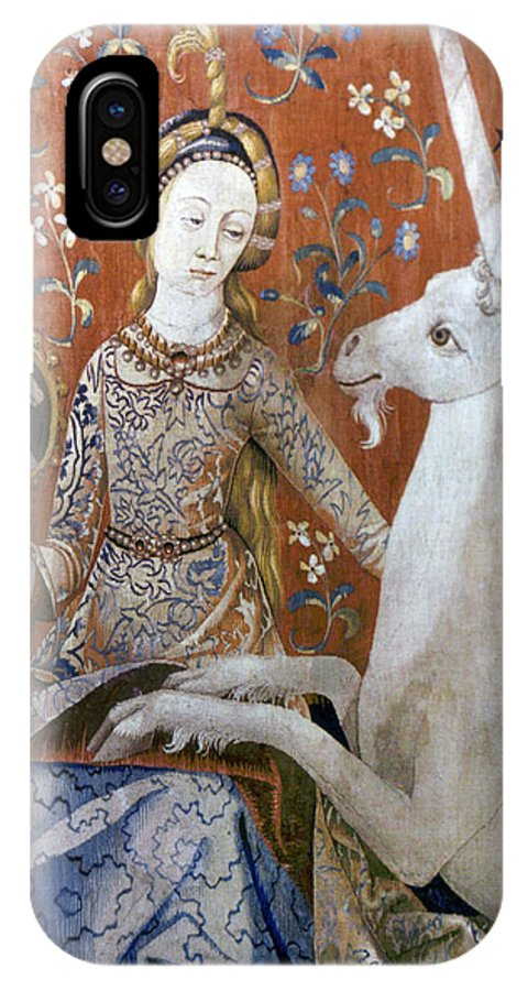 15th Century IPhone X Case featuring the photograph Unicorn Tapestry, 15th C by Granger