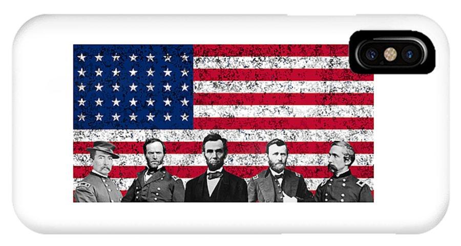 Abraham Lincoln IPhone X Case featuring the mixed media Union Heroes And The American Flag by War Is Hell Store