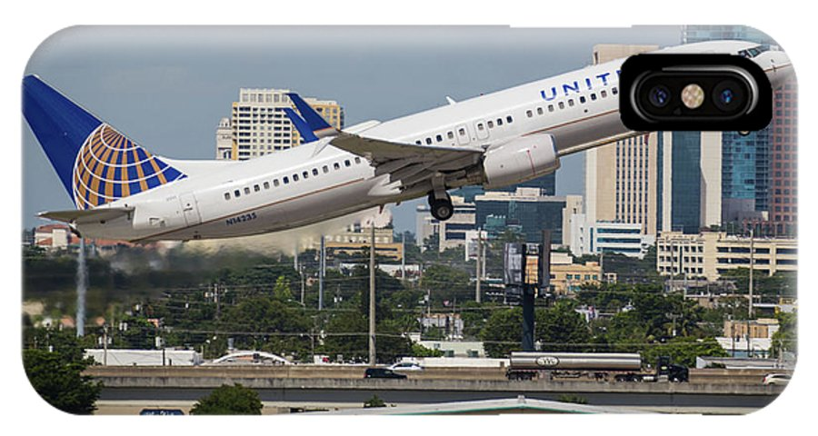 United IPhone X Case featuring the photograph United Airlines by Dart Humeston