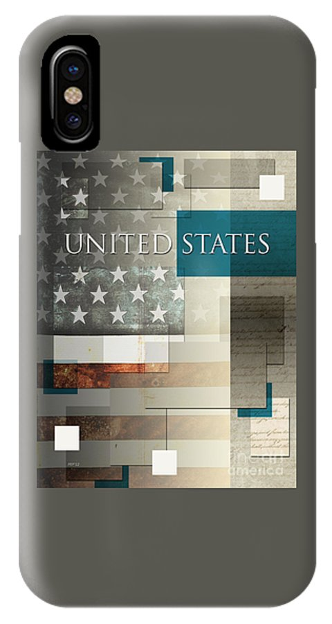 Graphic Design IPhone X Case featuring the digital art United States by Phil Perkins